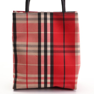 Burberry Tote Bag Small in Red Check Nylon Twill with Black Leather Handles
