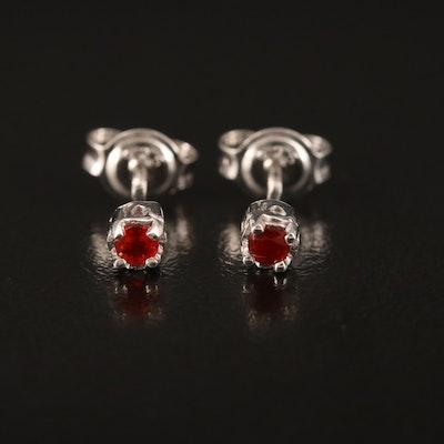 Sterling Fire Opal Stud Earrings