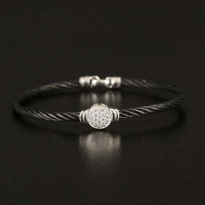 Charriol 18K 0.16 CTW Diamond Cluster on Stainless Steel Bracelet