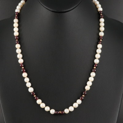 Near-Round Pearl and Garnet Necklace with 14K Clasp and Spacer Beads
