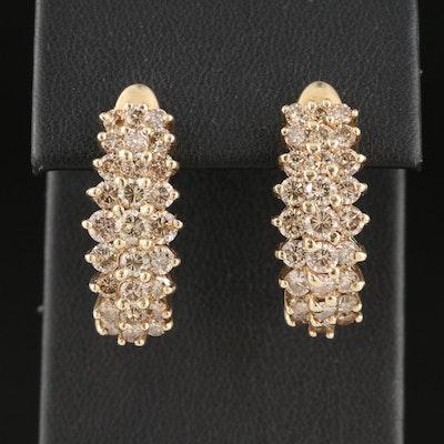 10K 2.98 CTW Diamond J Hoop Earrings