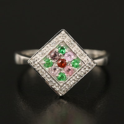 Sterling Tsavorite, Sapphire and Fire Opal Ring