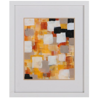 """Sanna Abstract Acrylic Painting """"Squared,"""" 21st Century"""
