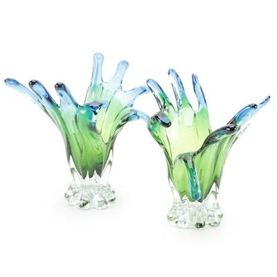 Freeform Abstract Art Glass Finger Vases