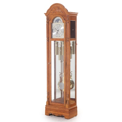Howard Miller Federal Style Oak Tall Case Clock, Late 20th Century