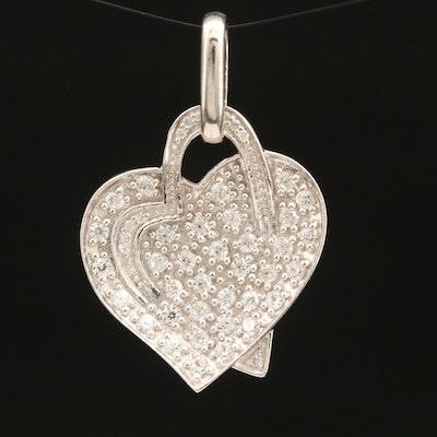 Sterling Zircon Double Heart Pendant