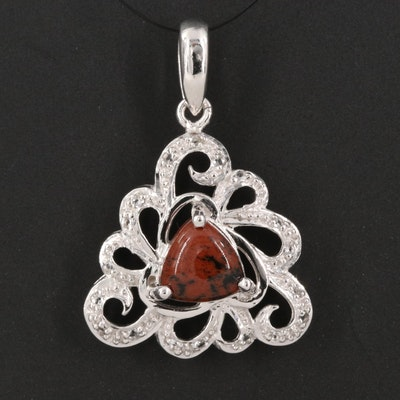 Sterling Silver White Topaz and Mahogany Obsidian Openwork Pendant