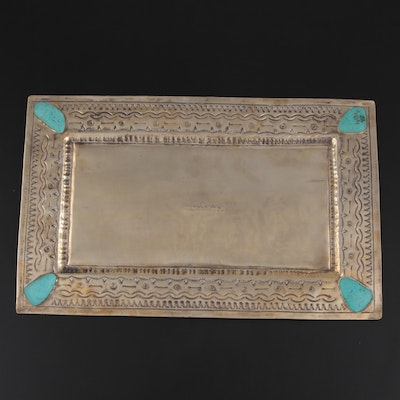 """J. Alexander """"Rustic Silver"""" Metal Tray with Turquoise Embellishments"""