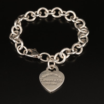 """Tiffany & Co. """"Return to Tiffany"""" Sterling Heart Charm Bracelet with Pouch"""