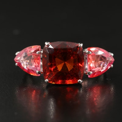 14K Hessonite Garnet and Sapphire Three Stone Ring