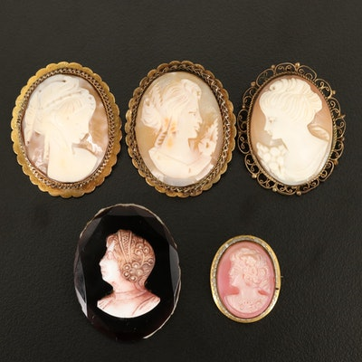 Shell, Glass and Faux Pearl Cameo Brooches Including 800 Silver