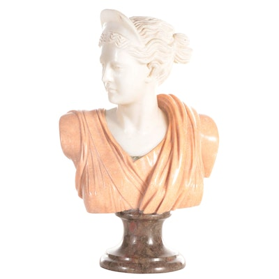 """Carved Marble and Stone Bust after """"Diana of Versailles"""""""