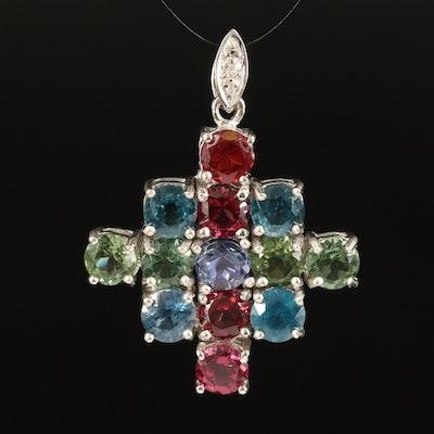 Sterling Kyanite, Iolite and Rhodolite Garnet Cluster Pendant