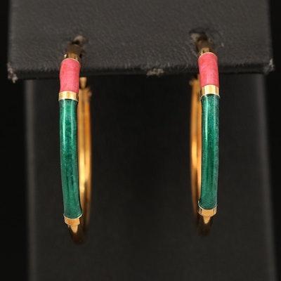 Italian 18K Enamel Hoop Earrings