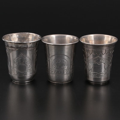 Imperial Russian 84 Zolotniki Chased Vodka Cups, Late 19th Century