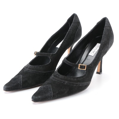 Isaac by Isaac Mizrahi Pointed-Toe Brogue Mary Jane Pumps in Black Suede