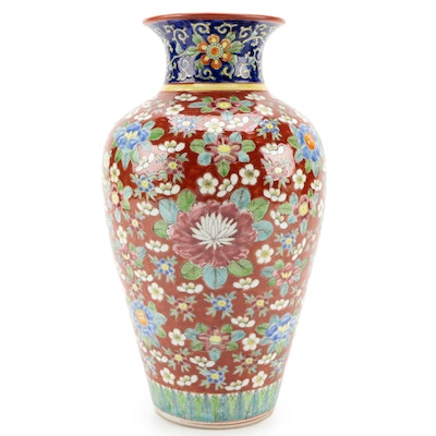 Hand-Painted Asian Style Floral Motif Ceramic Vase