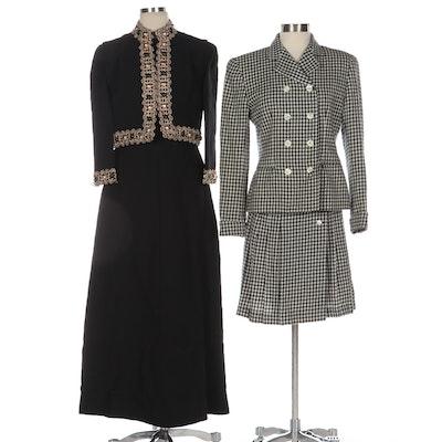 Fred Lansac Paris Embellished Evening Dress Set and Evan-Picone Wool Skirt Suit