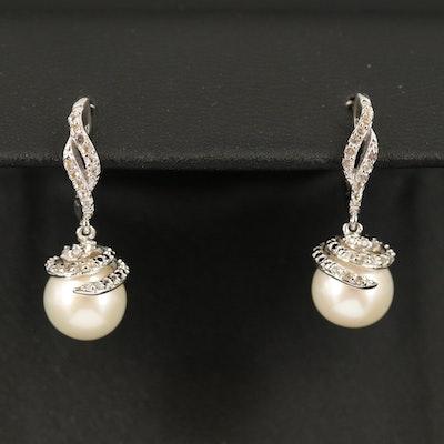 Sterling Pearl and Topaz Huggie Earrings
