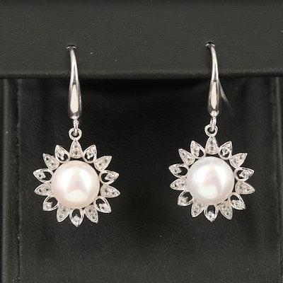 Sterling Pearl and Topaz Earrings