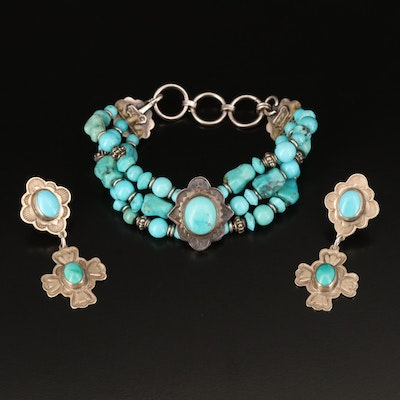 """Don """"Old Don"""" Lucas Sterling Turquoise Bracelet and Earrings"""