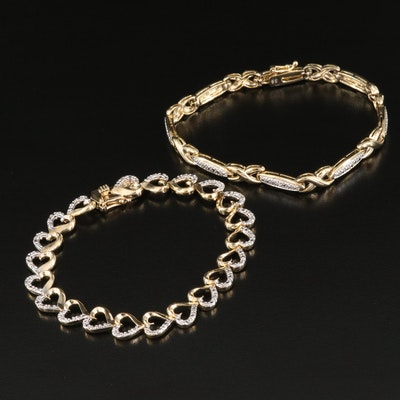 Sterling Silver Diamond Heart Link and 'X' Link Bracelets