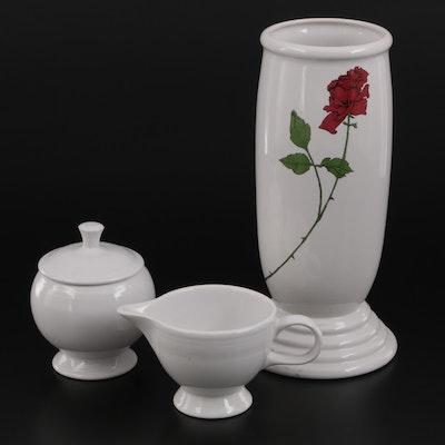 "Homer Laughlin ""Millennium III"" Rose Motif Vase with Creamer and Sugar"