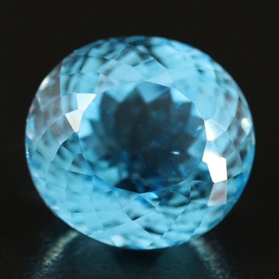 Loose 29.63 CT Oval Faceted Swiss Blue Topaz
