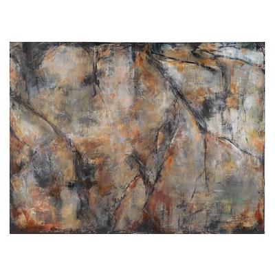 "Sanna Abstract Acrylic Painting ""Ancient Past,"" 21st Century"