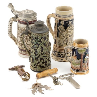 German and Other Ceramic Beer Steins with Bottle Openers and Corkscrews