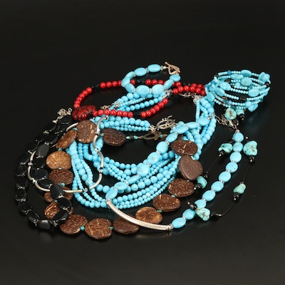 Necklaces and Bracelets Including Sterling, Bronze, Magnesite, Coral and Seed