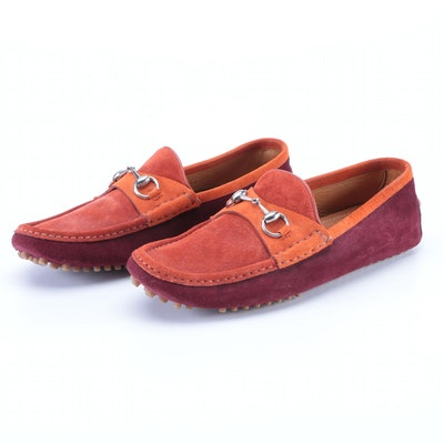 Gucci Horsebit Moccasin Driving Loafers in Two-Tone Suede