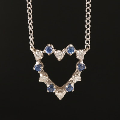14K Sapphire and Diamond Heart Pendant on 10K Chain Necklace