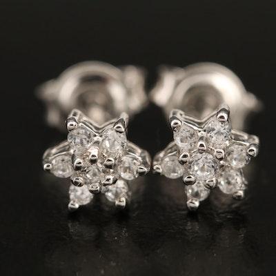 Sterling Zircon Star Earrings