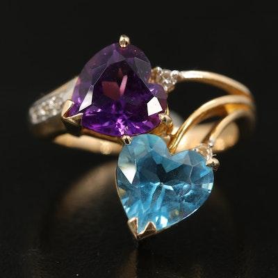 14K Sky Blue Topaz, Amethyst and Diamond Double Heart Ring