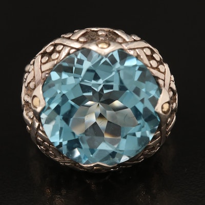 John Hardy Sterling Swiss Blue Topaz Ring with 14K Accents