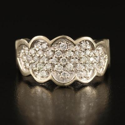 14K 0.76 CTW Diamond Ring with Scalloped Bezel