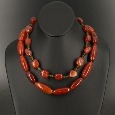 Sterling Agate and Glass Station Necklace with Beaded Necklace