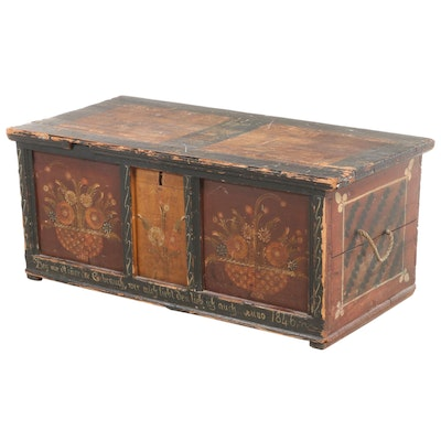 German Paint-Decorated Pine Marriage Chest, Dated 1846