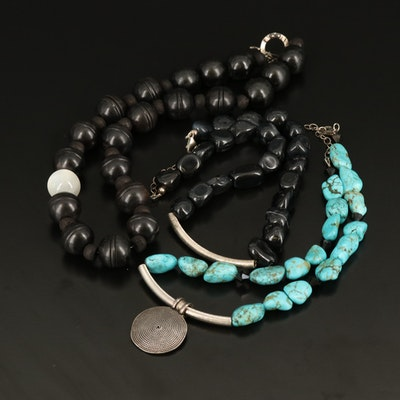 Sterling Magnesite and Agate Beaded Necklaces
