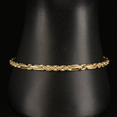 14K Braid Figaro Bracelet