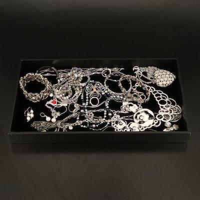 Pandora Three Leaf Clover Brooch Featured with Rhinestone Jewelry