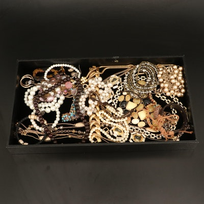Jewelry Including Wood, Glass and Faux Pearl