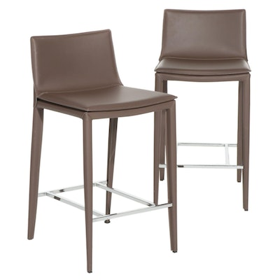 Pair of Contemporary Nuevo Palma Synthetic Leather and Chrome Barstools