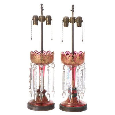 Pair of Gilt Decorated Cranberry Glass Mantel Luster Lamps, Early 20th Century