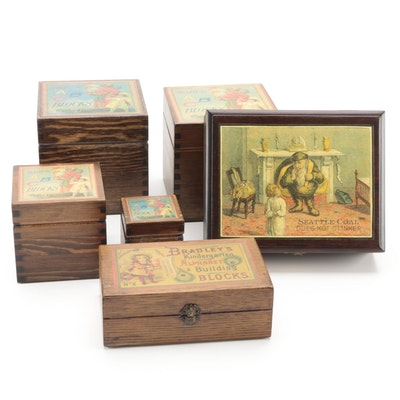 Milton Bradley and Other Wooden Block Letters with Decoupage Boxes