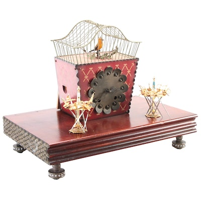 E. Schmeckenbecher Clock with Toledo Sword Cocktail Picks and Wooden Plinth
