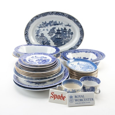 Royal Worcester, Spode and Other Blue Willow Style Tableware, 20th Century