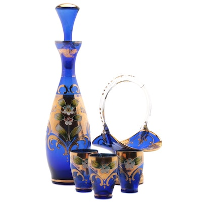 Murano Glass Decanter and Glasses with Bride's Basket, Mid/Late 20th Century