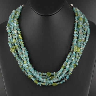 Apatite and Peridot Torsade with Sterling Silver Extender